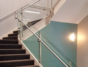 Dot Glass Stair Railing at 4000 Lexington