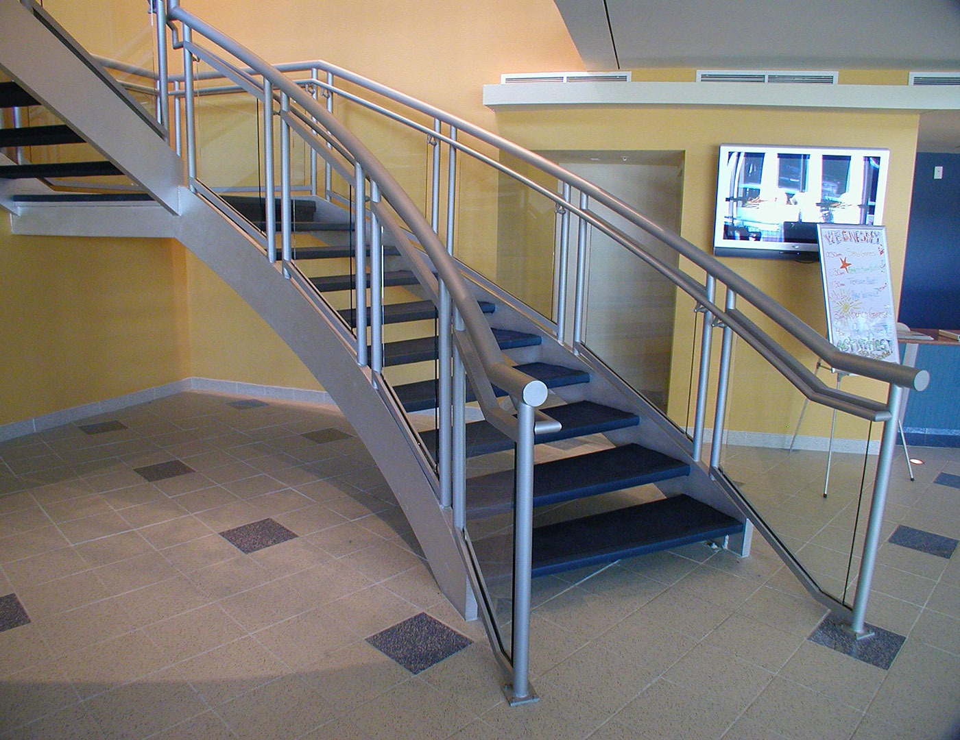 Glass Stair Railings Interior: 3-Line Glass Commercial Railing