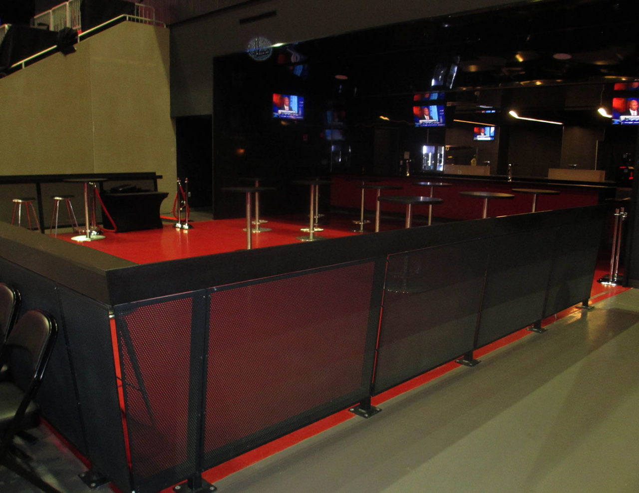 Custom top mounted railing system with aluminum perforated panels