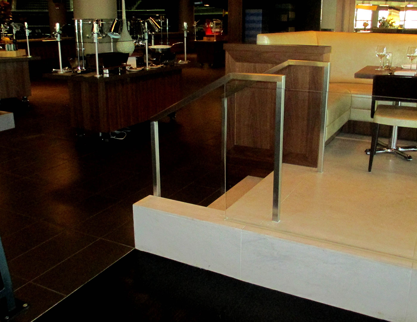 Stainless steel handrail with Track Rail glass railing