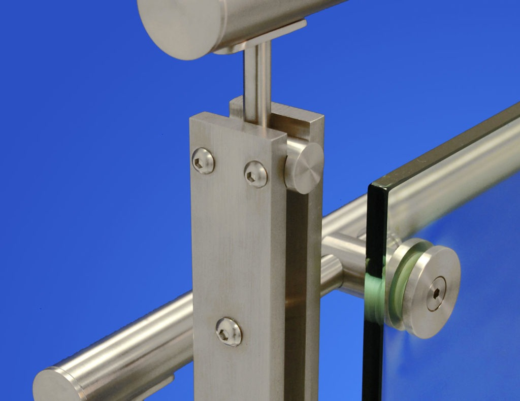 Double bar post glass railing with handrail and top cap