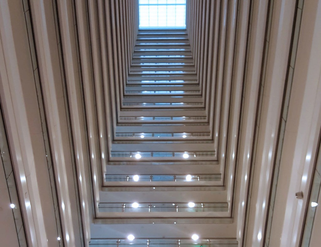Each floor of the Hilton Grand Vacation Club uses Mocaco glass railing and smoke baffles