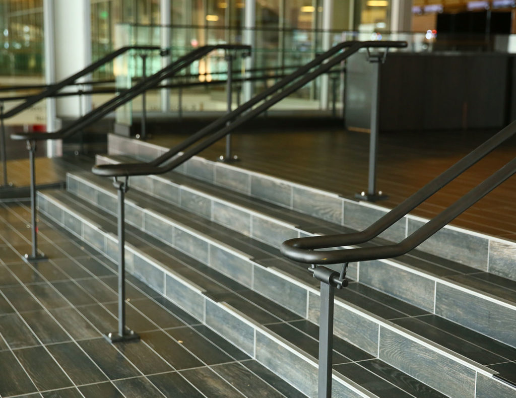 Interior decorative blackened steel Griprail with flat posts