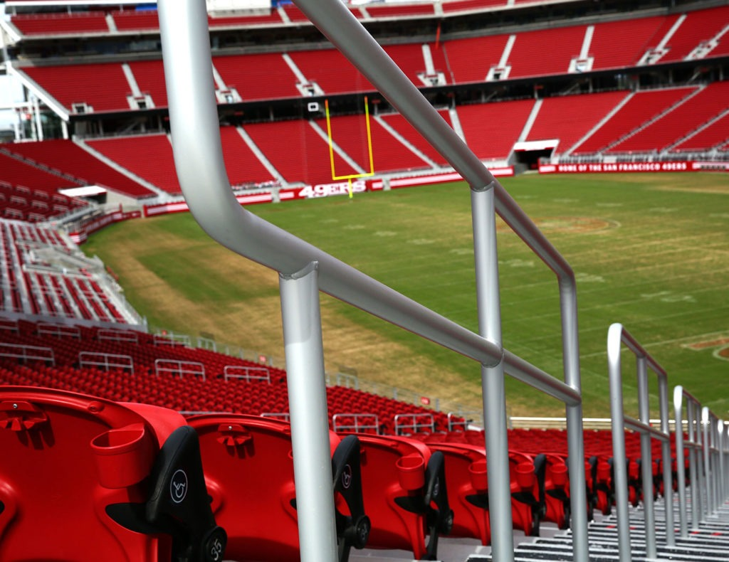 Griprail tube railing on all aisle railing within stadium